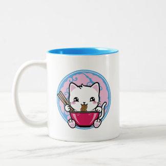 Taza japonesa linda del gato de los Ramen de