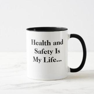 Taza ¡La salud y la seguridad es mi vida - RETROCEDA!