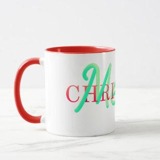 Taza Las Felices Navidad entrelazaron tipografía
