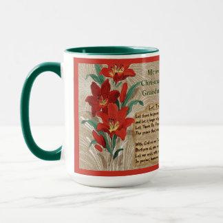 Taza Letras rojas de los lirios y del navidad -