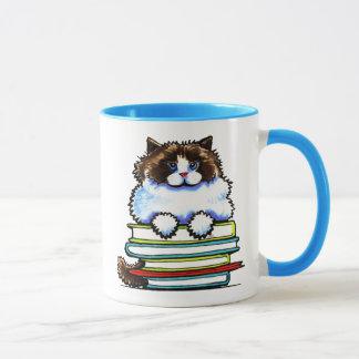 Taza Libros elegantes del gatito de Ragdoll