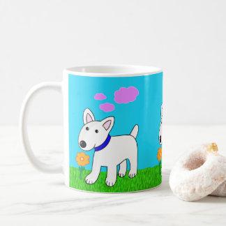 Taza linda de la flor del perro w de Kawaii bull