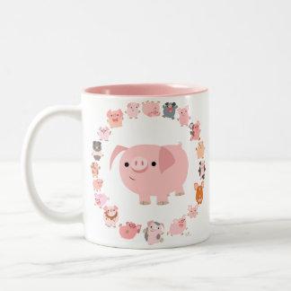 Taza linda de la mandala de los cerdos del dibujo