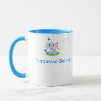 taza linda de la serenidad de la turquesa del