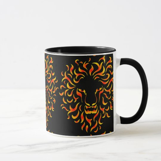Taza Lion Head with ethnic fire colors. M1.
