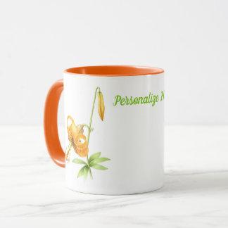 Taza Lirio tigrado anaranjado personalizado