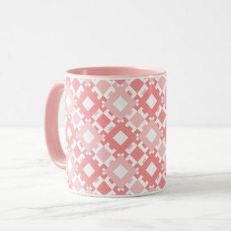 Taza Los cuadrados geométricos del rosa en colores