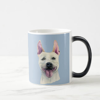 Taza Mágica Acuarela blanca del perro de Staffordshire bull
