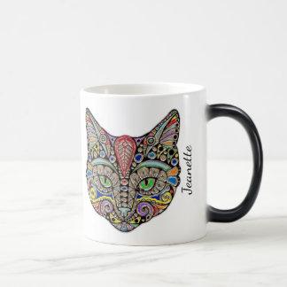 Taza Mágica Gato Jeweled colorido personalizado