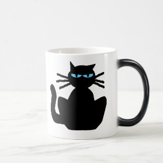 Taza Mágica Gato negro misterioso con los ojos azules