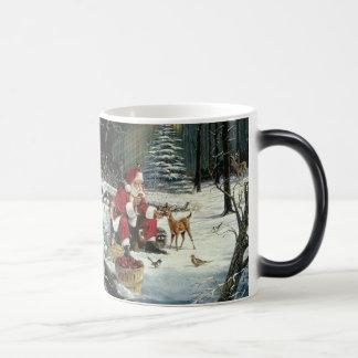 Taza Mágica Pintura de Papá Noel - arte del navidad