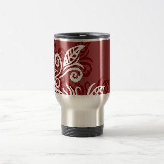 taza marrón roja del diseño moderno de la hoja