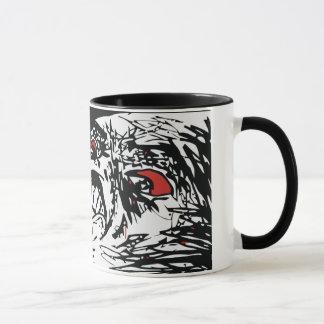 Taza mega de Coffe de la cara de la rabia