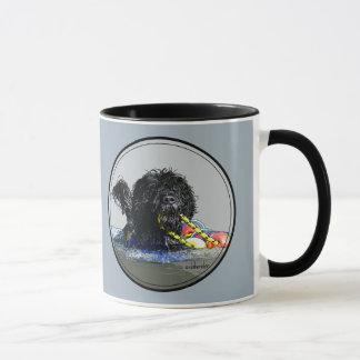Taza Natación portuguesa del perro de agua con la línea
