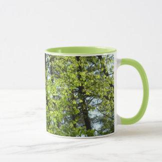 Taza Naturaleza verde de las hojas de arce de la