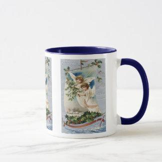 Taza Navidad del vintage, ángeles del Victorian en un