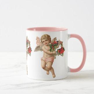 Taza Navidad del vintage, guirnalda floral del ángel w