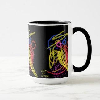 taza negra con tacto artístico
