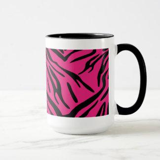 Taza negra y rosada de la raya de la cebra