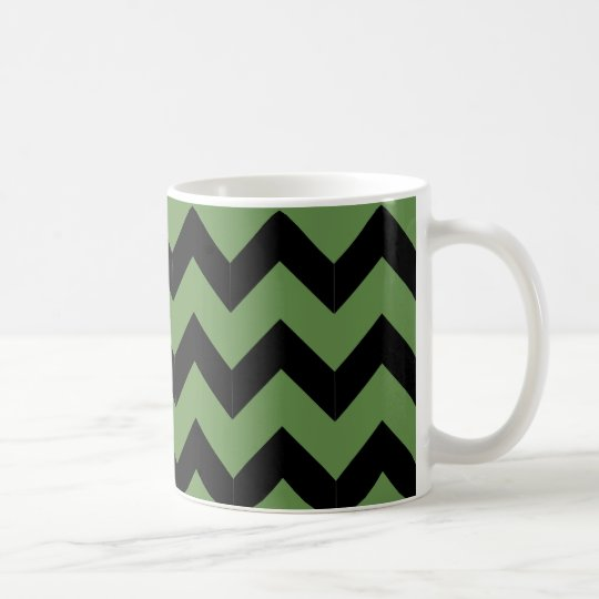 Taza negra y verde clásica