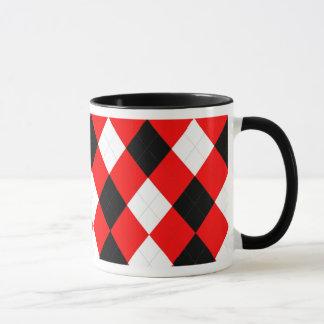Taza Negro blanco rojo del KRW Argyle
