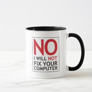Taza Ningún no fijaré su ordenador