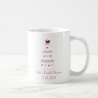 Taza nupcial del favor de la ducha de la torta ros