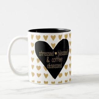 Taza obsesionada café bendecida subrayada