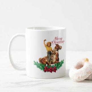 Taza occidental de las Felices Navidad del caballo