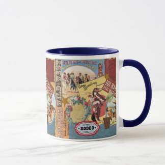taza occidental del collage del vintage