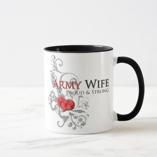 Taza orgullosa y fuerte de la esposa del ejército