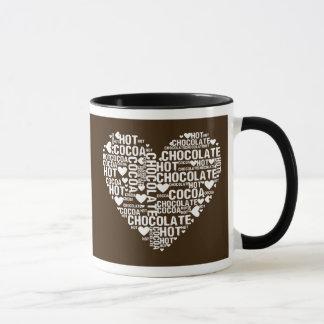 Taza oscura del amor del cacao del chocolate