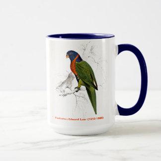 Taza Parakeet agarrado escarlata del pájaro de Edward