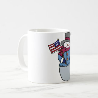Taza patriótica del muñeco de nieve