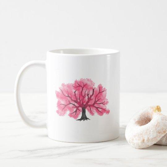 Taza personalizada árbol rosado de las flores de