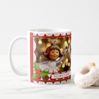 Taza personalizada del navidad del ángel de la