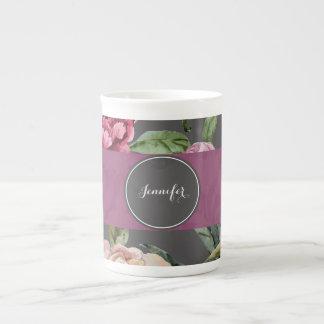 Taza personalizada floral bohemia de la porcelana