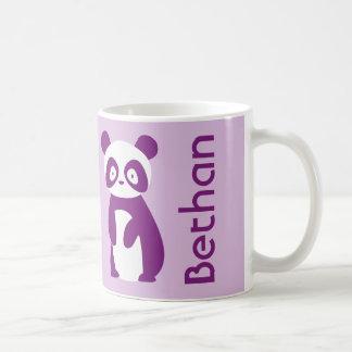 Taza personalizada púrpura de la panda (cualquier