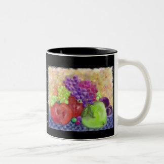 Taza pintada de la fruta