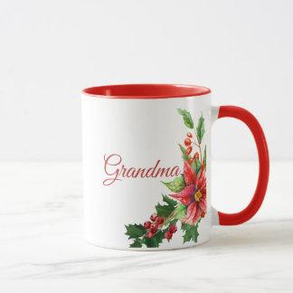 Taza Poinsettias del navidad y texto personal