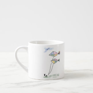 Taza preciosa del café express del bosquejo de dos