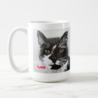 """Taza principal del arte del gato de """"Lou"""" -"""