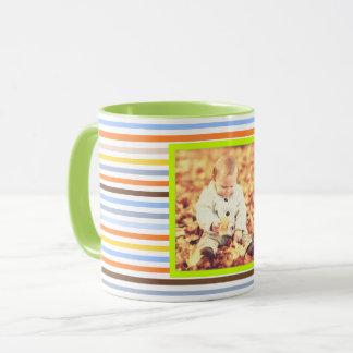 Taza Rayas multicoloras coloridas y foto de encargo