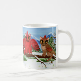 Taza roja del arte del gato de la nieve de los