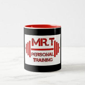 Taza roja del logotipo del entrenamiento personal