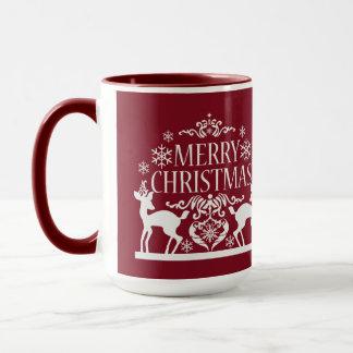 Taza Rojo Taza-Profundo del tono de las Felices Navidad