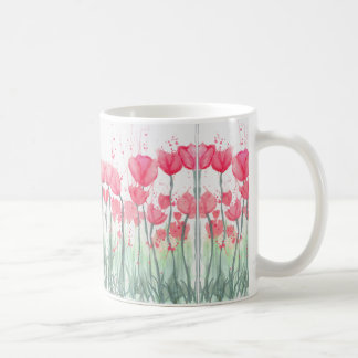 Taza rosada del espejo del tulipán de la acuarela