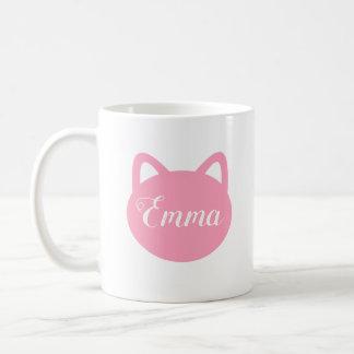 Taza rosada personalizada del gato