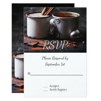 Taza rústica de té y de chocolate caliente que invitación 8,9 x 12,7 cm