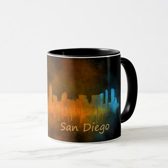 Taza San Diego California City Skyline Watercolor v04